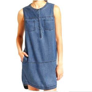 Athleta Hana Chambray Henley Sleeveless Tank Dress